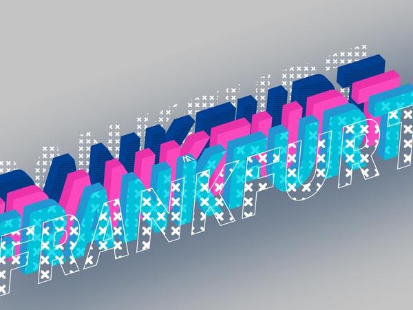 Bunter Schriftzug Frankfurt in verschiedenen grafischen Techniken Dargestellt