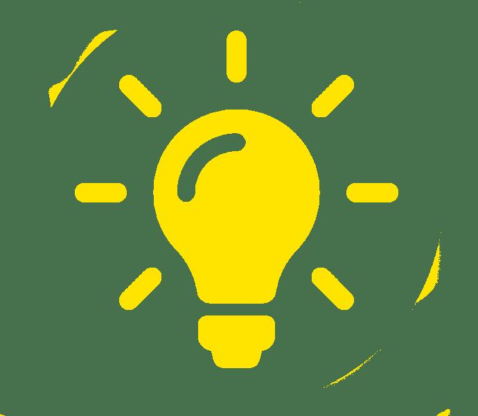 Leuchtende Glühbirne als Icon für Ideen