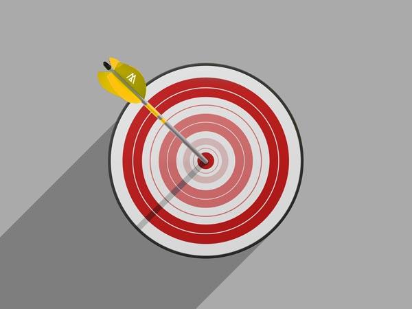 Rote Zielscheibe für Marketing wird genau in der Mitte von einem gelben Pfeil mit Triumph Logo getroffen