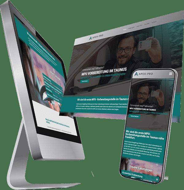 Visualisierung einer Webseite MPU Vorbereitung in Taunus - unsere Webdesign Referenz