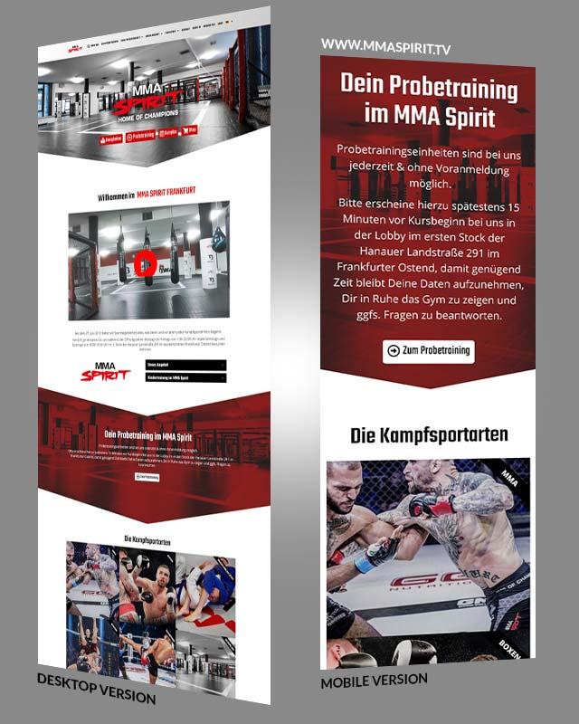 Webdesign einer Homepage von unserem Kunden aus Frankfurt - MMA Spirit