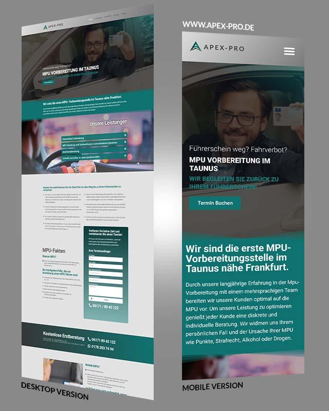 Webdesign Referenz Apex Pro MPU Stelle Design von Triumph Agentur
