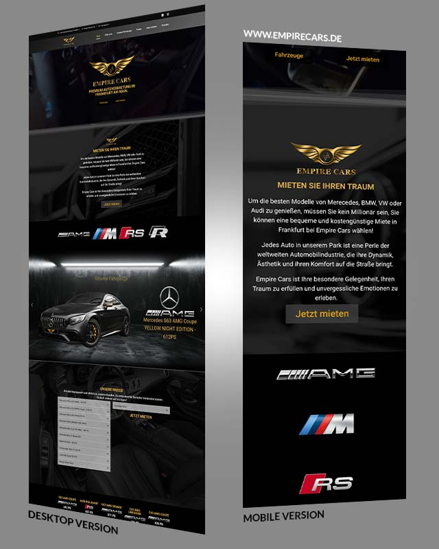 Webdesign Beispiel Empire Cars Triumph Agentur