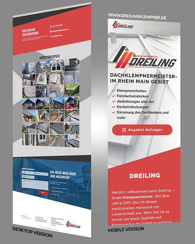 Screenshot einer Webseite von unserem Kunden Dreiling Dachklempnermeister aus Taunus