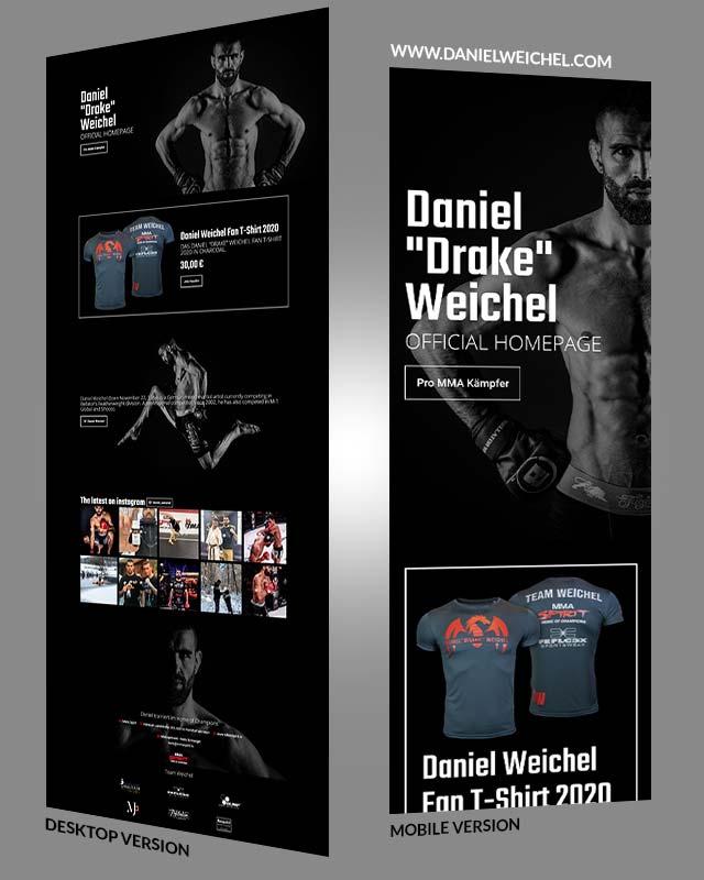 Portfolio Screenshot einer Homepage für den Frankfurter MMA Kämpfer Daniel Weichel