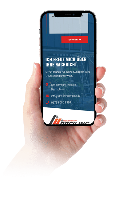 Handy in der Hand für Webdesign auf Iphone X
