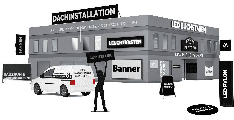 Werbetechnik in Frankfurt Unsere Leistungen wie Buchstaben Banner Schilder, Folien und mehr auf einem grauen Gebäude dargestellt