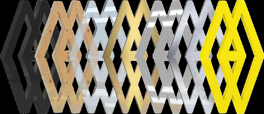 Diverse Materialien der 3D Buchstaben von Hartschaum, Holz, Glas, Metall und mehr neben einander