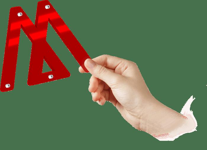 Rote Plexiglas Buchstabe bereit für Montierung