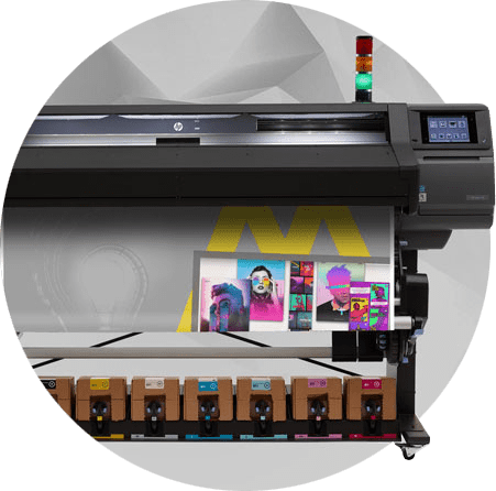 Runder Bild mit einem HP Latex Digitaldrucker mit einem Triumph Motiv bedruckt