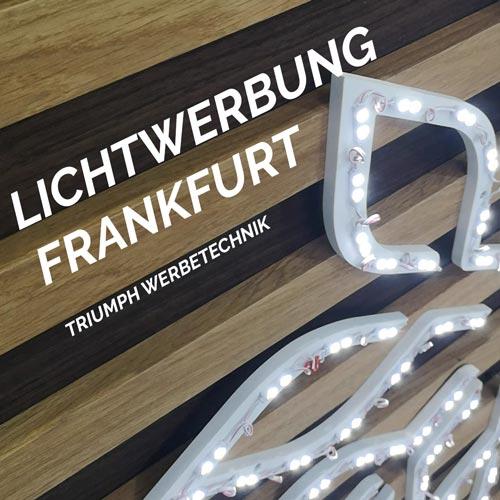 Lichtwerbung Frankfurt Triumph Agentur LED Dioden auf Holz Leisten
