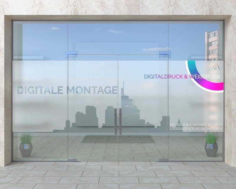 Sichtschutzfolie Frankfurt Digitale Montage Beispiel