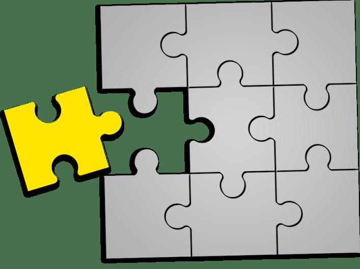 Das entscheidende Element als Puzzle in Gelb Grau dargestellt für Marketing in Frankfurt