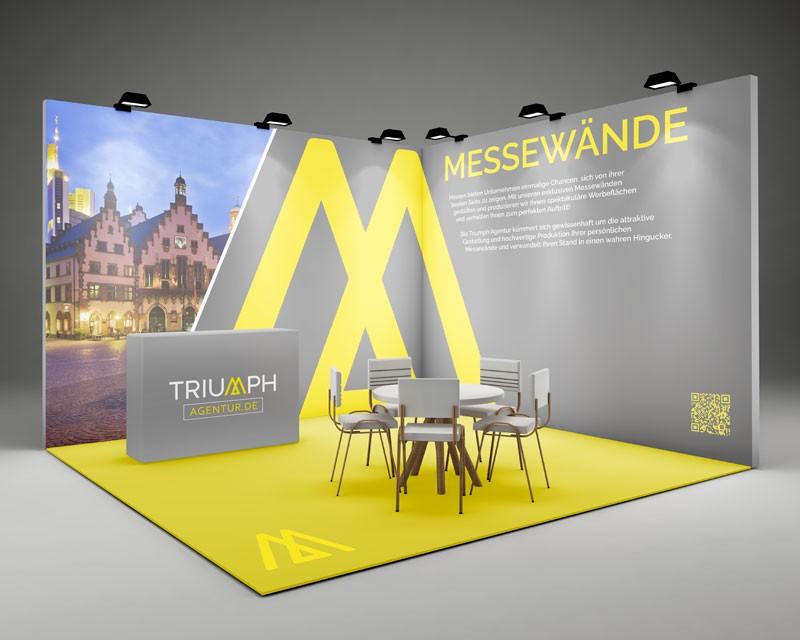 Messewand von Triumph Agentur - grau gelbes Design mit LED Strahlern beleuchtet